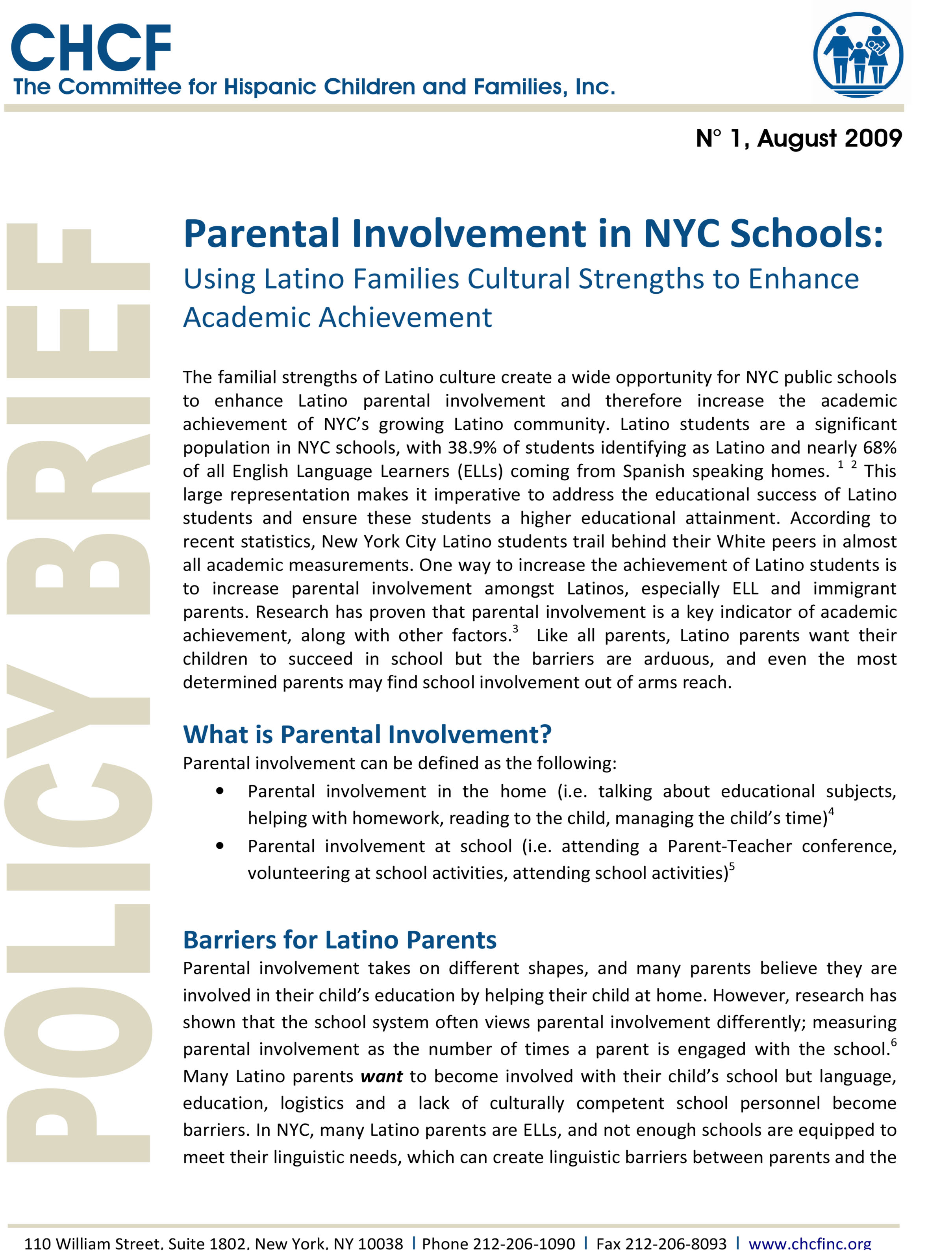 thesis on parental involvement in education Parent involvement is so important that the no child left behind act (national pta, 2006) is a federal policy that puts a mandate on parental involvement in education and family-school relations across primary school levels.
